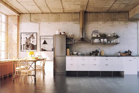 The modern loft kirchen interior. 3d concept Foto de archivo