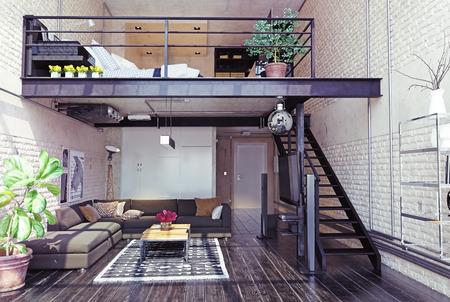 Design de interiores loft moderno. Estilo contemporâneo. Conceito de renderização 3d