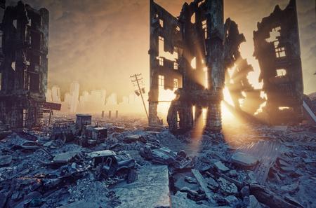 apokaliptyczny zachód słońca. Kreatywna ilustracja 3D