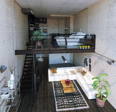 modern loft interieur. Eigentijdse stijl. 3D-rendering concept