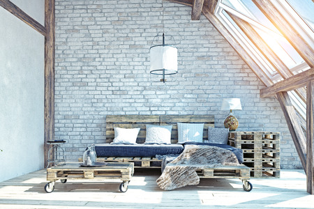 attic living room interior. Pallet furniture .3d illustration Фото со стока