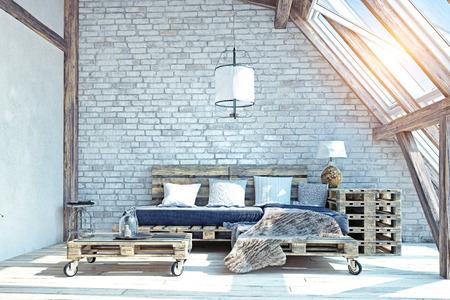 Grenier salon intérieur. Illustration de meubles de palette .3d Banque d'images - 91698615