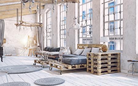 屋根裏部屋のリビング ルームのインテリア。パレット家具 3次元図