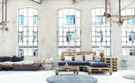 Zolder woonkamer interieur. Palletmeubels. 3d illustratie Stockfoto - 91312526