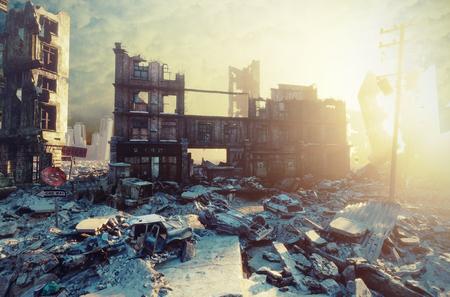 apokalyptischer Stadt Sonnenuntergang. Kreative 3D-Darstellung