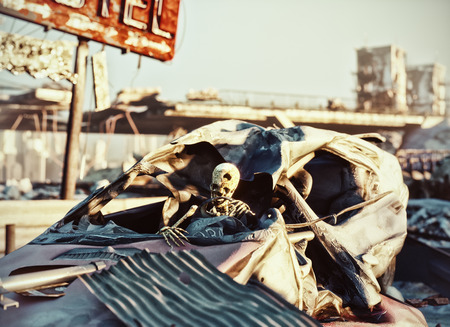 Skeleton in the car .Ruins of a city highway. Apocalyptic landscape.3d illustration concept