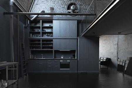 モダンなブラックロフトキッチンインテリア。3Dコンセプト