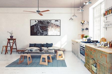Modern design  kitchen interior. 3d rendering concept 스톡 콘텐츠