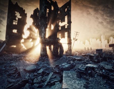 apocalyptische zonsondergang. Creatieve 3D-afbeelding