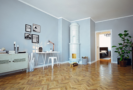古典的なスウェーデンのストーブが備まるモダンなアパートメントです。3D コンセプト レンダリング