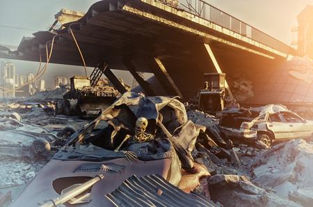 Skelet in de auto. Ruïnes van een stadsweg. Apocalyptisch landscape.3d illustratieconcept
