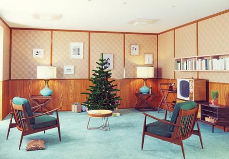 retro style christmas interior. 3D concept illustration.