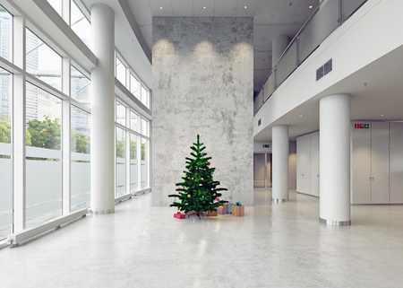 natale moderno, architettura business hall. Concetto 3d