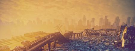 Ruines de la ville. Concept d'illustration de paysage.3d apocalyptique
