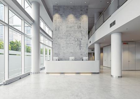 nowoczesna architektura hali biznesowej. 3d pojęcie