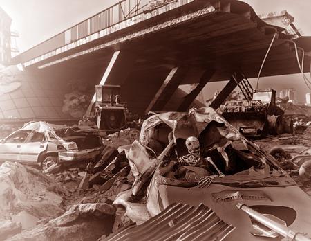 Skelet in de auto. Ruïnes van een stadsweg. Apocalyptische lsepia andscape. 3d illustratieconcept
