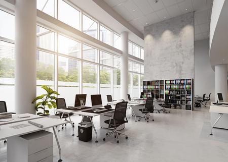 近代的なオフィスビルのインテリア。3D レンダリングの概念
