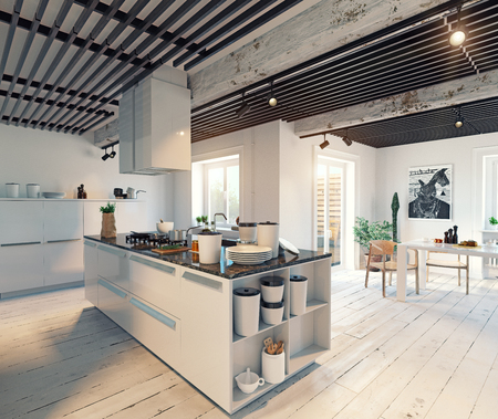 modern kitchen interior. 3d illustration creative concept Stockfoto