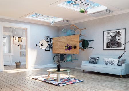이상한, 거꾸로 된 방 실내. 3D 그림 창조적 인 개념 아이디어