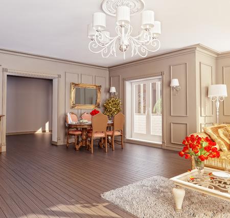 modern classic interior (3D rendering) Stock Photo