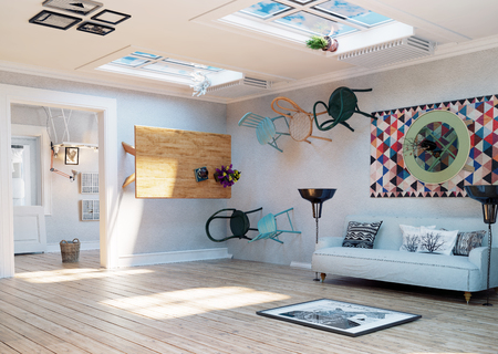 Strange, upside down room interior. 3D illustration creative concept idea