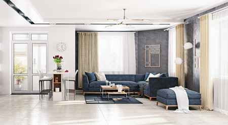 modern apartment living room . 3D rendering