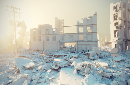 apocalyptic white city sunset. Creative 3D illustration Standard-Bild
