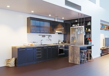 moderne küche innenarchitektur. Konzept der Wiedergabe 3D