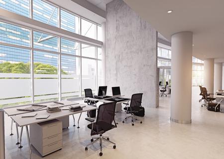 modern office building interior. 3d rendering concept