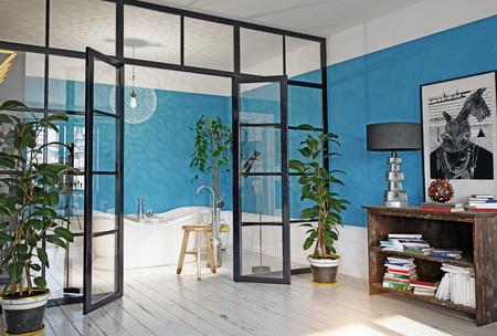 modern appartement interieur. glazen wand 3d concept