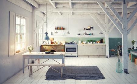 Style vintage cuisine de cuisine. rendu 3d concept design Banque d'images - 96013713