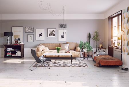 Modernes Wohnzimmer Design . 3D-Rendering Standard-Bild - 96013717