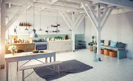 Style vintage cuisine de cuisine. rendu 3d concept design Banque d'images - 96013720
