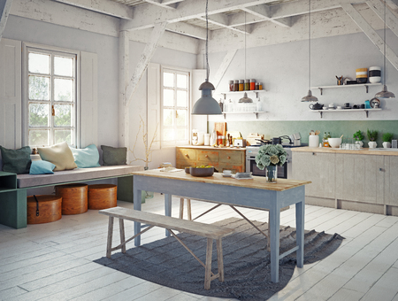 vintage style kitchen interior. 3d rendering concept design Foto de archivo