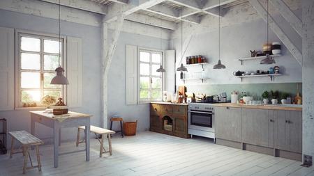 Style vintage cuisine de cuisine. rendu 3d concept design Banque d'images - 96013787