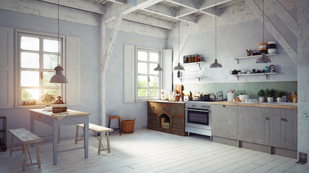 vintage style kitchen interior. 3d rendering concept design Stock Photo