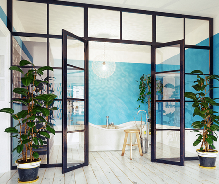 modern bathroom interior. glass wall 3d concept