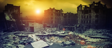 apocalyptic city sunset. Creative 3D illustration Archivio Fotografico