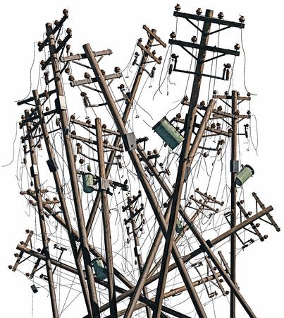 broken electric poles. 3d rendering concept