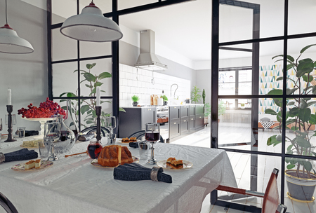 modern kitchen interior with glass partition. 3d rendering concept