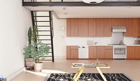 Modern kitchen loft interior. 3d rendering concept.