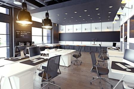 moderne gemütliche Loft-Büroeinrichtung. 3D-Rendering Standard-Bild