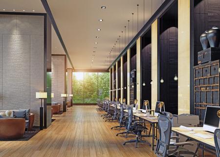 modern kantoorinterieur. 3D-rendering concept