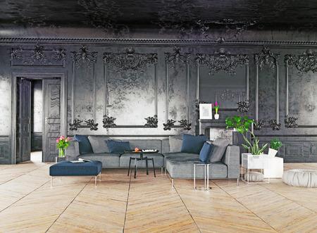 Black style luxury interior. 3d rendering concept Foto de archivo - 97550956