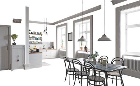孤立した家のインテリア家具と装飾。3Dイラストレーションコンセプト