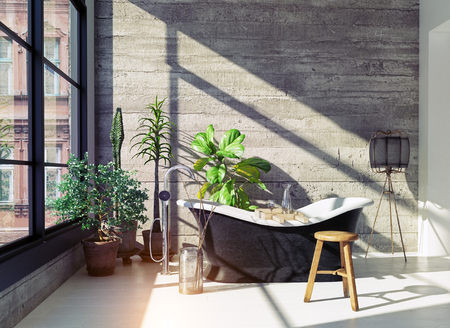 Modern loft bathroom interior. Glass wall 3d concept Imagens