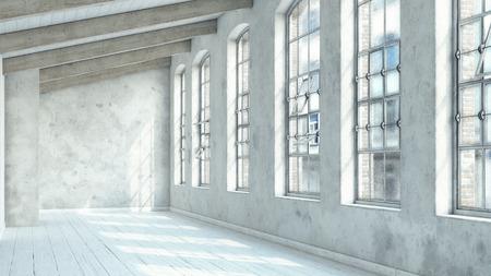 Interni moderni loft bianco. Concetto di rendering 3D. Archivio Fotografico - 97574590