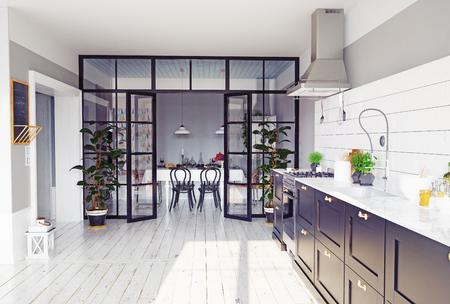 Moderne Küche Interieur. Konzept der Wiedergabe 3d