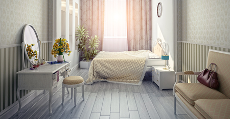 modern luxury bedroom interior (3D rendering)  Standard-Bild