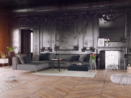 Black style luxury interior. 3d rendering concept Archivio Fotografico